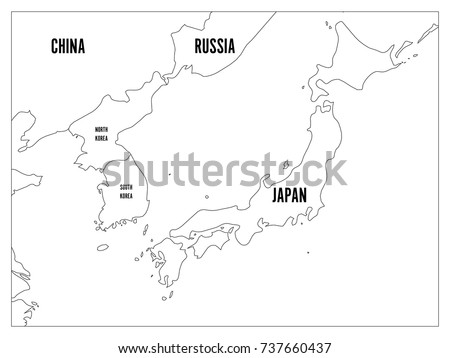 Political Map Of Korean And Anese Region South Korea North Korea And An