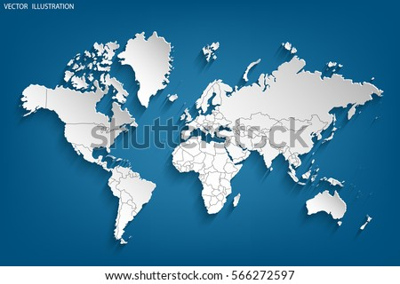 Political Map World Gray World Mapcountries Stock Vector - Earth map countries