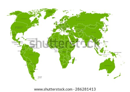 Political map of the world. Green world map-countries. Vector illustration