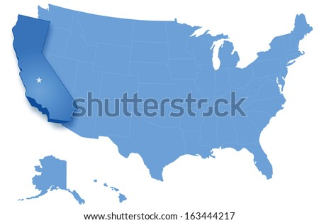Scribble Sketch Usa Map On Blackboard Stock Vector - Us map with california highlighted