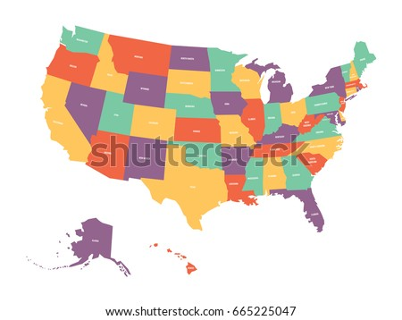 Colorful Usa Map States Capital Cities Stock Vector - United states map with state names and capitals
