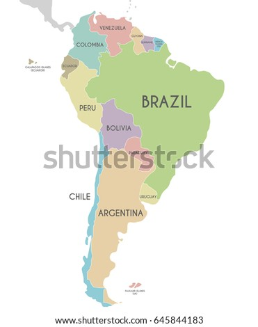 Political South America Map Vector Illustration Stock Vector - Argentina map labeled