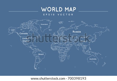 Political World Map Outline Name Borders Stock Vector - World political map with country names