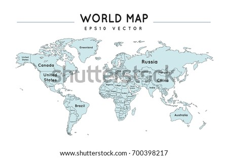 Political world map name borders countries stock vector 704294251 political world map with country names gumiabroncs Choice Image