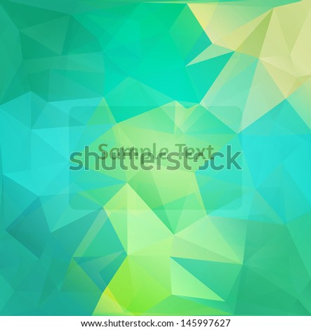 Polygon design stylized vector abstract background. Blue and green ...