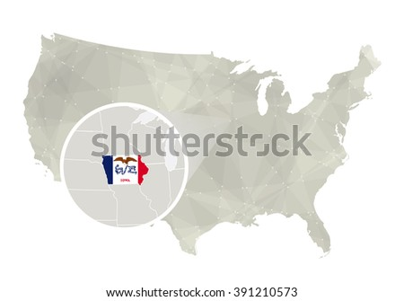 Isometric Map Flag Iowa D Isometric Stock Vector - Iowa on us map