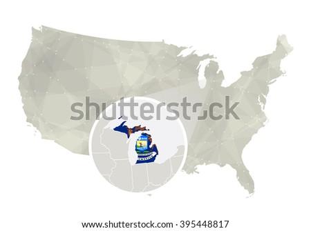 Usa Map Magnified Michigan State Michigan Stock Illustration - Us map without michigan