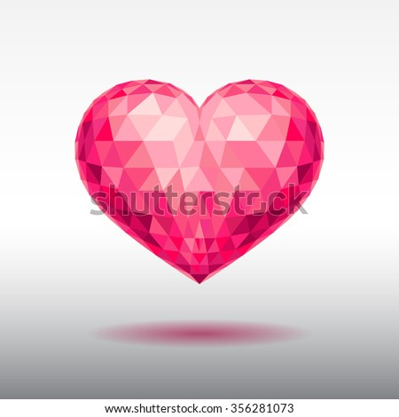 Polygonal image of the heart. Congratulations to the Happy Valentine's Day.