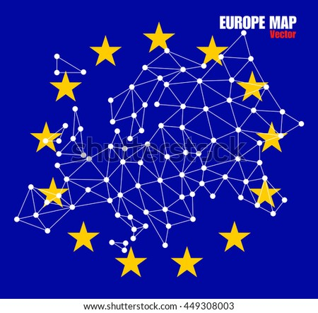 Polygonal map of Europe with dots and lines on background EU flag, network connections, vector illustration