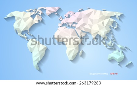 White origami world map world map vectores en stock 261091262 polygonal world map gumiabroncs Choice Image