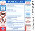 Pool rules set. Vector - stock vector
