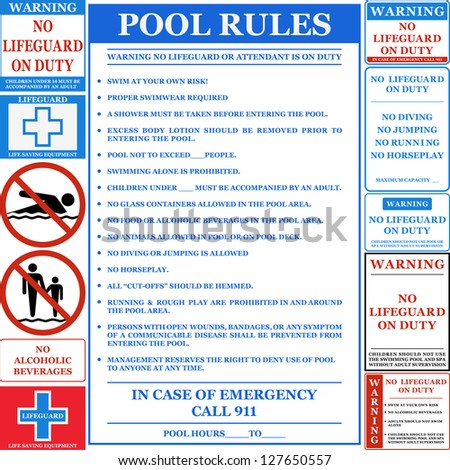 Pool Rules Set Vector Stock Vector 127650557 Shutterstock