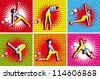 Pop Art Comic yoga, pilates big set of vector symbols on dots backgrounds - stock vector