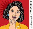Pop Art illustration of a laughing woman, vector format - stock