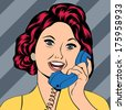 Pop Art lady chatting on the phone, vector illustration - stock vector