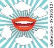 Pop art style smiling woman mouth with different blank speech bubbles. Sexy smile with red lips and white teeth on sunburst background. Vector illustration - stock vector