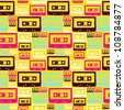 Pop audio cassette seamless pattern. Vector file layered for easy manipulation and custom coloring. - stock photo