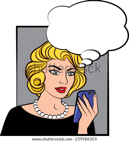 Pop comic style woman with phone