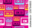 Pop vintage audio cassettes seamless pattern. Vector file layered for easy manipulation and custom coloring. - stock photo
