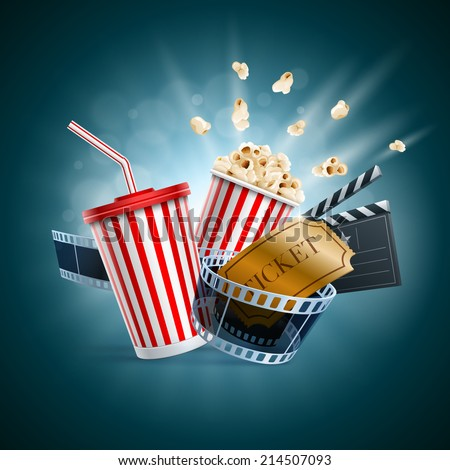 Popcorn box; disposable cup for beverages with straw, film strip, clapper board and ticket. Cinema Poster Design Template. Detailed vector illustration. EPS10 file.