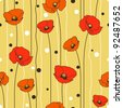 Poppies stripped seamless pattern. Yellow, orange, red, brown. - stock