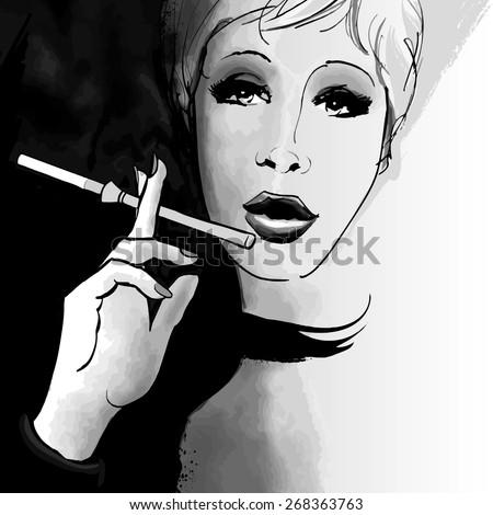 Portrait of a woman smoking with a cigarette holder - Vector illustration