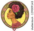 Portrait of beautiful African woman in floral border, Icon or logo, hand drawn - stock vector