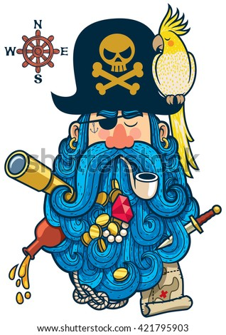 Portrait of cartoon pirate with big beard.