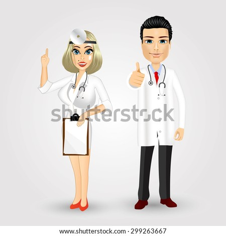 portrait of nurse holding clipboard and doctor giving thumbs up isolated over white background
