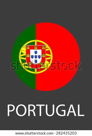 Portugal circle flag - vector icon