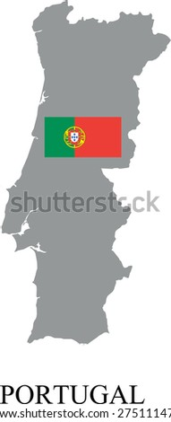 Portugal map with flag