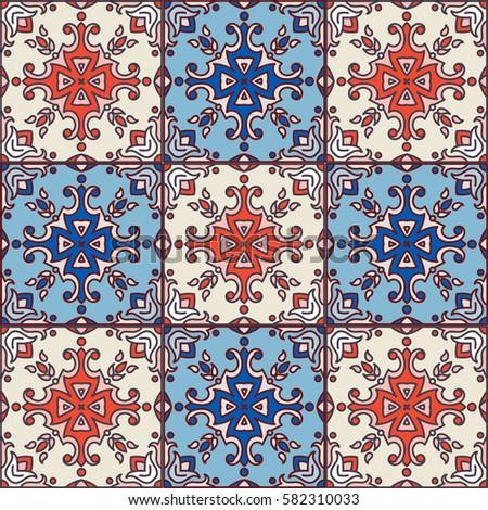 Vintage Seamless Pattern Portugal Style Azulejoseamless ...