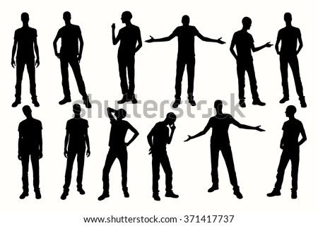 Posing Man Silhouettes. Vector silhouettes of mans in different positions.