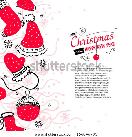 Post card with Christmas doodles. Vector illustration.