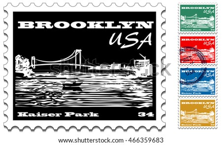 Postage stamp with illustration depicted Kaiser Park in South Brooklyn, New York.