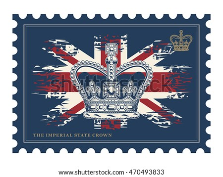 Postage stamp with imperial state crown on UK flag background. Isolated on white.