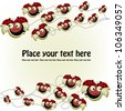 Postcard with a funny ladybugs - stock vector