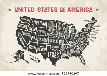 Poster Map United States America State Stock Vector - Black and white us map with states