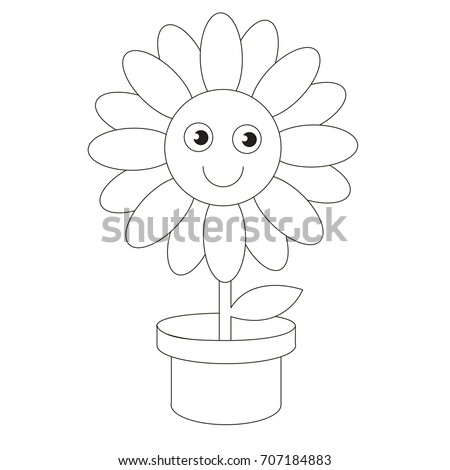 Pot Flower Cartoon Colorless Outlined Illustration With Thin Line Black Stroke The Coloring Book