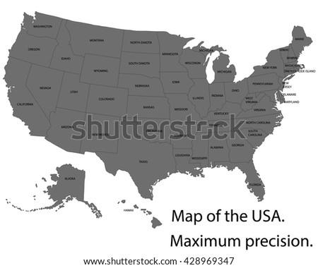 3d Vector Map Usa Stock Vector 666490825 Shutterstock