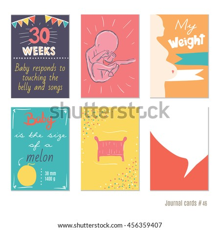 Pregnancy 3439 weeks vector design templates stock vector pregnancy 30 weeks vector design templates for journal cards scrapbooking cards greeting cards pronofoot35fo Gallery