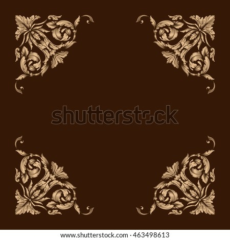 Gold vintage baroque element ornament retro stock vector for Baroque architecture elements