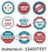Premium Quality and Satisfaction Guaranteed Badges in Retro Style - stock vector