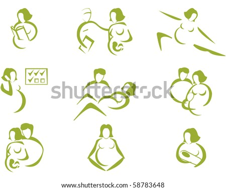 Prenatal and childbirth iconset, with human silhouettes