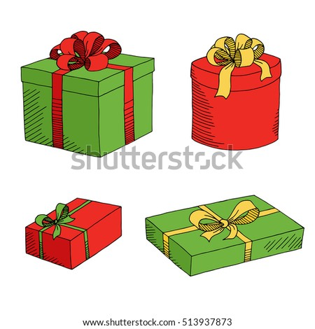 Present box graphic set green red yellow color isolated sketch illustration vector