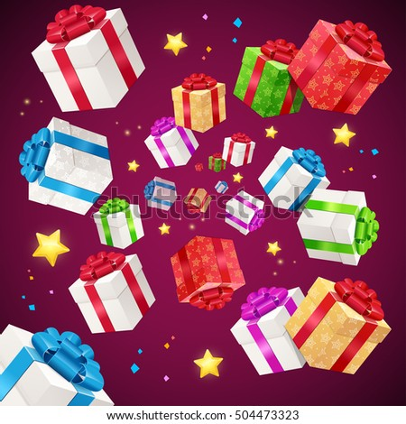 Present Boxes Background Holiday Birthday. Tradition To Congratulate. Vector illustration Can Be Used For Celebration, Party, Anniversary. Flying gift and stars for Christmas flyer