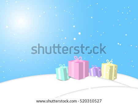 presents in the snow falling background celebration vector