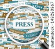 PRESS. Word cloud concept illustration.  - stock vector