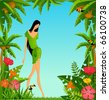 Pretty girl on island with tropical palms. Vector - stock vector