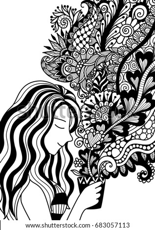 Pretty Girl Smell The Floral Coffee Smoke For Design Element And Adult Or Kids Coloring Book